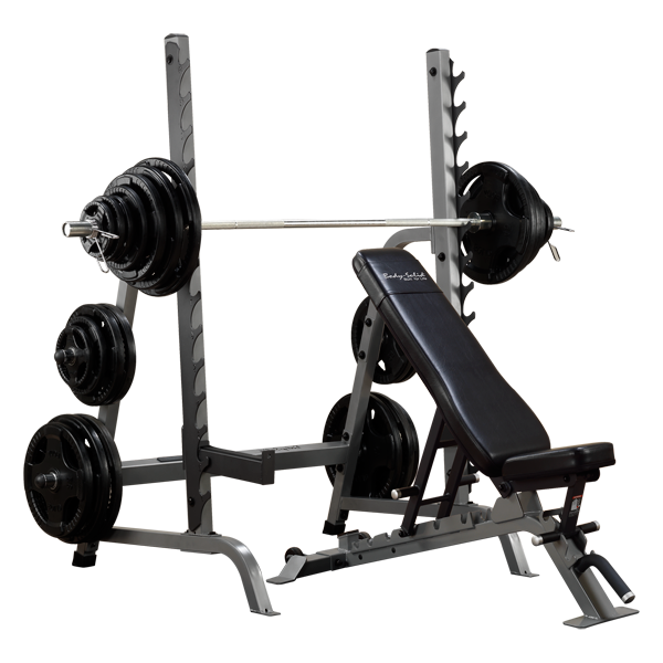 Body Solid Commercial Bench Squat Rack Combo Package Sdib370