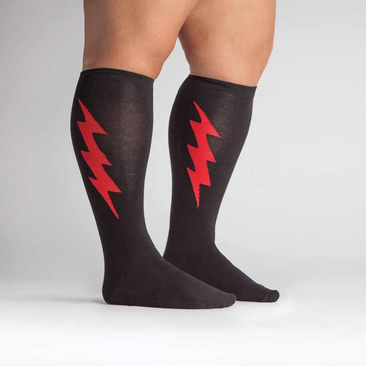 dbe48a71c Unisex STRETCH-IT Knee High Super Hero Socks Black & Red. Tap to expand