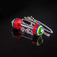 Colored Barbell Necklace - 6 Red Plates
