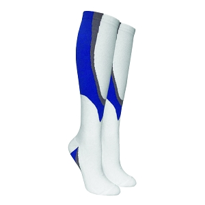 Heavy Sports Boost Compression Deadlift Socks - White and Blue