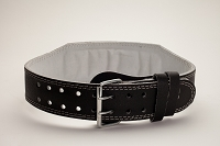 Black Padded 2x4 Prong Leather Belt